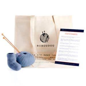 kit biboudou chausson bleu gris