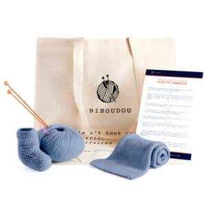 kit chaussons et écharpe biboudou bleu gris