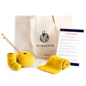 kit chaussons et écharpe biboudou jaune clair