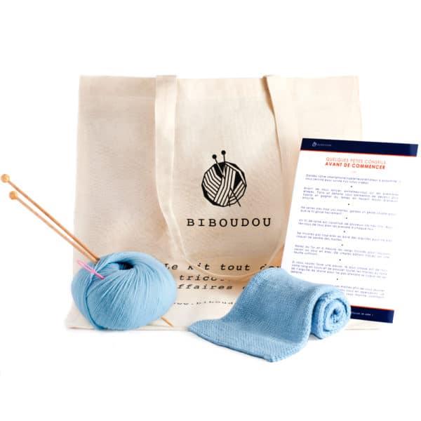 kit écharpe biboudou bleu ciel