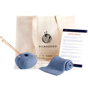 kit écharpe biboudou bleu gris