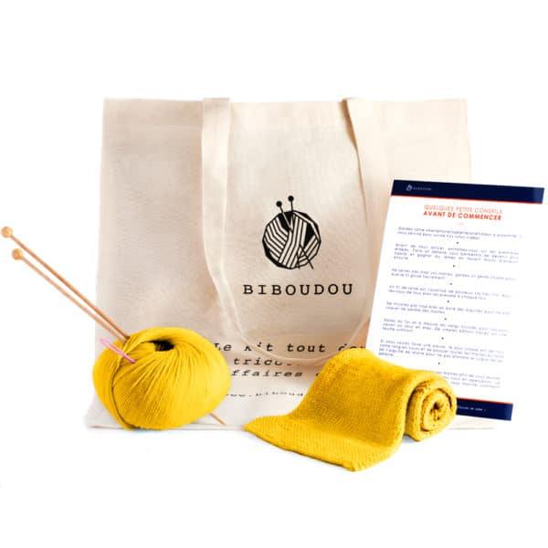 kit écharpe biboudou jaune clair