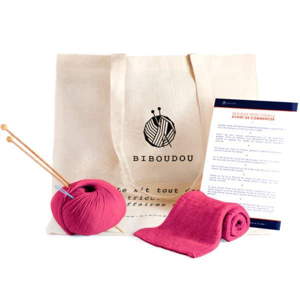 kit écharpe biboudou rose fushia