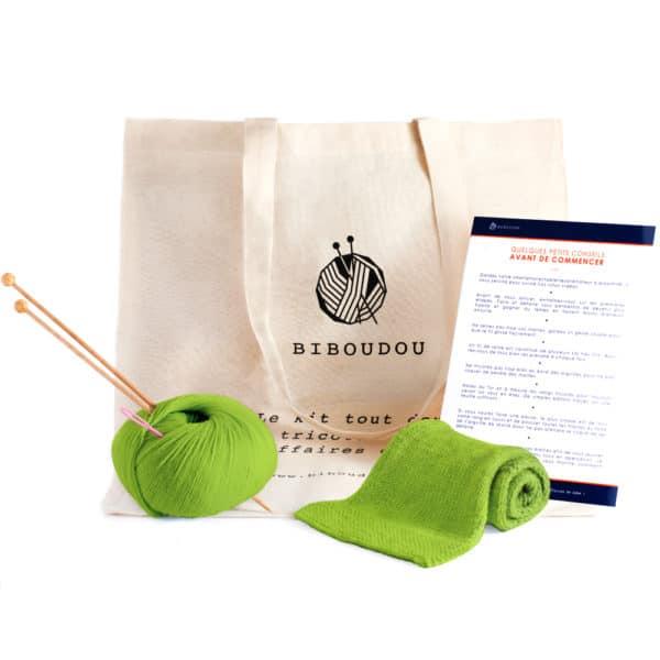 kit écharpe biboudou vert clair