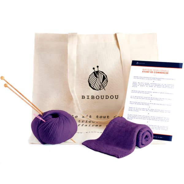 kit écharpe biboudou violet