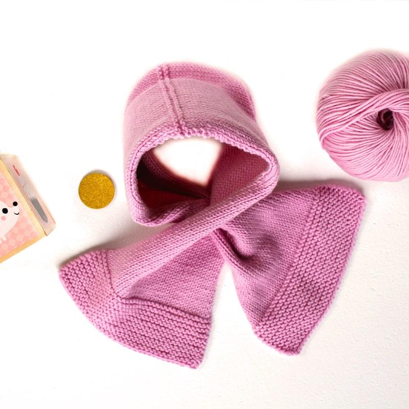 Echarpe à tricoter Biboudou - modèle rose