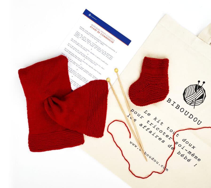Kit chausson + écharpe rouge à tricoter