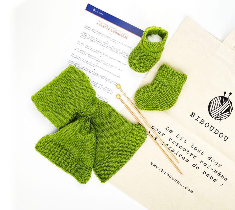 Kit chausson écharpe vert